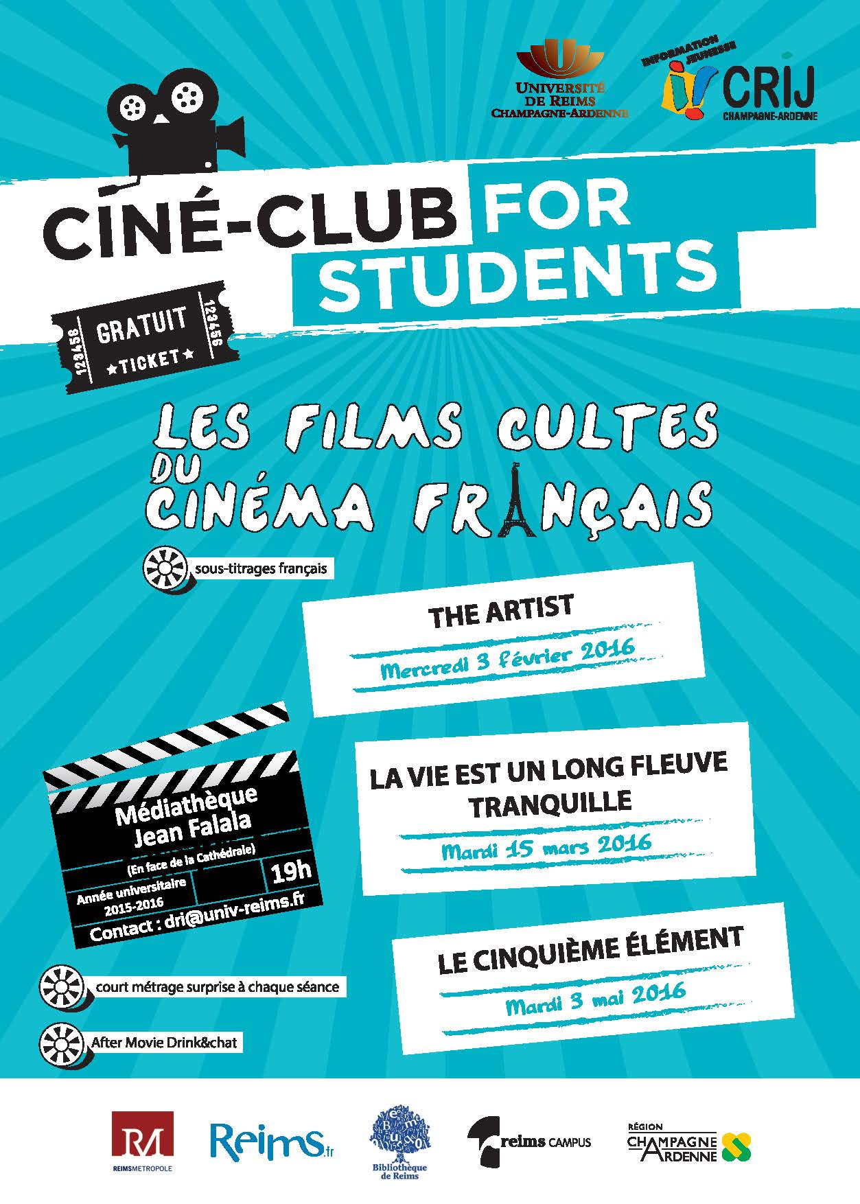 cin clubs for students les films fran ais cultes. Black Bedroom Furniture Sets. Home Design Ideas